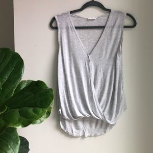 LUSH Gray Tank with Crossover Detail